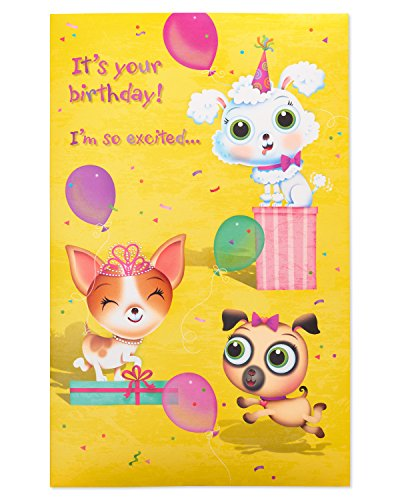 American Greetings Puppies Birthday Card for Girl with Sound