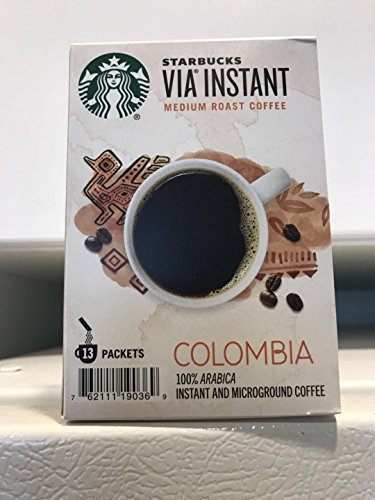 Starbucks 13 Packets VIA Colombia Coffee, Medium Instant, 1.51 Ounce