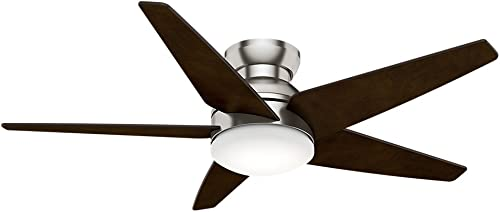Casablanca Indoor Low Profile Ceiling Fan with LED Light and wall control – Isotope 52 inch, Brushed Nickel, 59355
