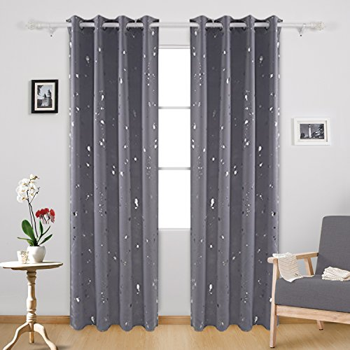 Deconovo Silver Dots Printed Thermal Insulated Blackout Grommet Curtains Light Grey For Bedroom 52 W X 95 L 2 Panels