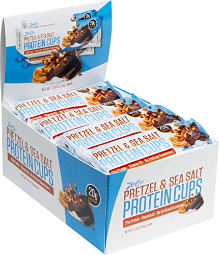 ZenEvo Pretzel & Sea Salt Chocolate Peanut Butter Protein Cups - Balanced Macros - No Sugar Spike - High Protein - Gluten Free Meal Replacement, 12 Count Box