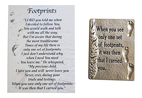- Ganz Footprints in The Sand Charm Pocket Token with Story Card ~ When You See Only Set of Footprints, it was Then That I Carried You