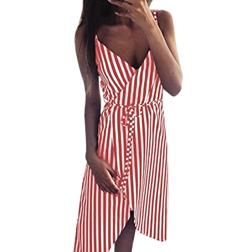 GREFER Women Fashion Stripe Printing Sleeveless Off Shoulder Evening Party  Vest Dress 360711d31