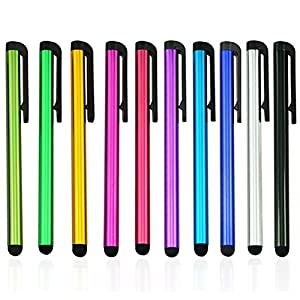10pack (Multi Color) Universal Small Metal Touch Stylus Pen for Android Mobile Phone Cell Smart Phone Tablet iPad iPhone…