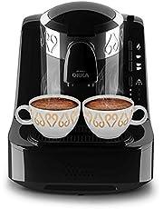 ارزوم اوكا - ماكينة قهوة تركى بـــــ وش - اسود/كروم - OK002