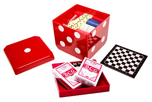 MMP Living 6-in-1 Game Cube - Chess, Checkers, Backgammon, Poker, Dominoes, Playing Cards - Red (Chess Playing Cards)