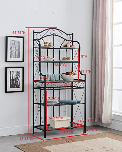 Kings Brand Furniture – Black Metal/Faux Stone 5-Tier Kitchen Storage Bakers Rack by Kings Brand Furniture (Image #2)