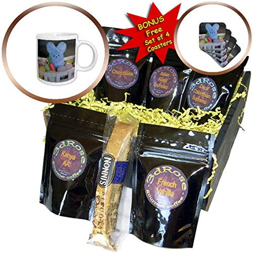 3dRose Stamp City - holiday - Photograph of a blue bunny nestled in plastic easter eggs and a carrot - Coffee Gift Baskets - Coffee Gift Basket (cgb_308407_1)