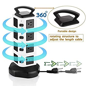 Power Strip Tower Surge Protector with 4 USB Slot 14 Outlet Plugs Desktop Charging Station with Overload Protection and Lightning Protection 6.6 ft Retractable Extension Cord Wire for Office.