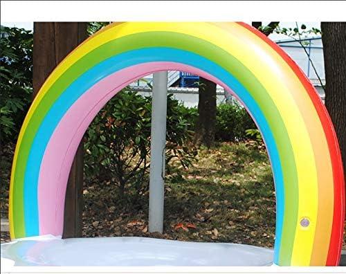 KNlang 大人の子供のためのインフレータブルPVCレインボーシェイプスイミングリングプールフロートシートキッズガールズボーイズビーチおもちゃ (サイズ : 90CM)
