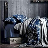 Eastern King Comforter Size Eastern Floral Chinoiserie Blossom Print Duvet Quilt Cover Navy Blue Tan White Asian Style Botanical Tree Branches Ornamental Drawing 400TC Egyptian Cotton 3pc Bedding Set (King)
