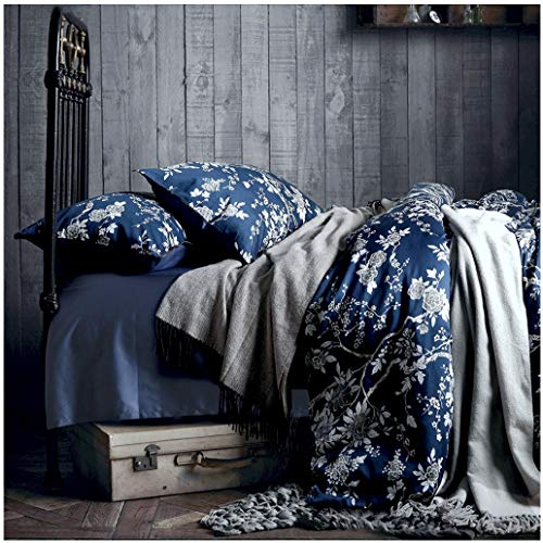 Eastern Floral Chinoiserie Blossom Print Duvet Quilt Cover Navy Blue Tan White Asian Style Botanical Tree Branches Ornamental Drawing 400TC Egyptian Cotton 3pc Bedding Set (Queen) (Ralph Lauren Bedding Queen)