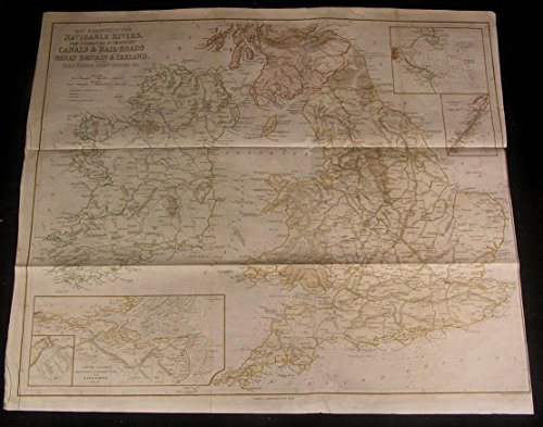 Rivers Canals Railroads Great Britain c.1845 Charles Copley rare old map Thames ()