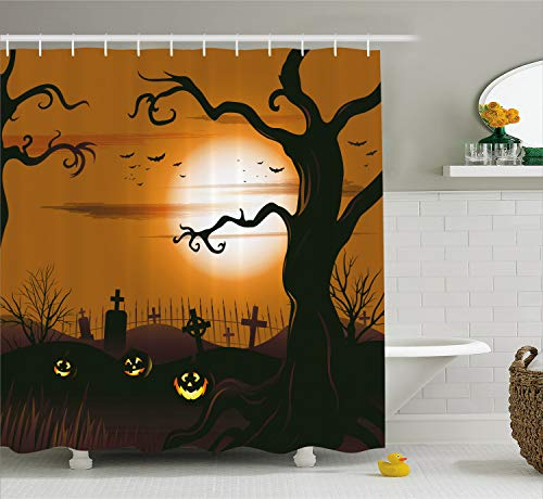 Ambesonne Halloween Decorations Shower Curtain Set, Leafless Creepy Tree with Expanding Twiggy Branches at Night in Cemetery Graphic, Bathroom Accessories, 69W X 70L inches, Brown Tan