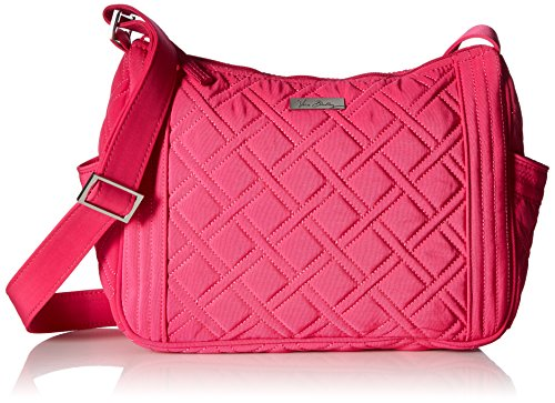 Vera Bradley Women's On the Go Crossbody Fuchsia Crossbody Bag (Pink Microfiber Bag)
