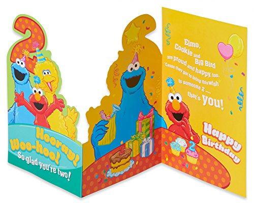 American Greetings Sesame Street 2nd Birthday Card with Glitter