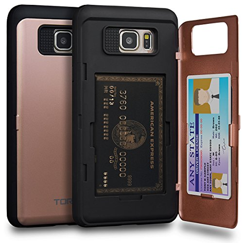 TORU CX PRO Note 5 Wallet Case Pink with Hidden Credit Card Holder ID Slot Hard Cover & Mirror for Samsung Galaxy Note 5 - Rose Gold