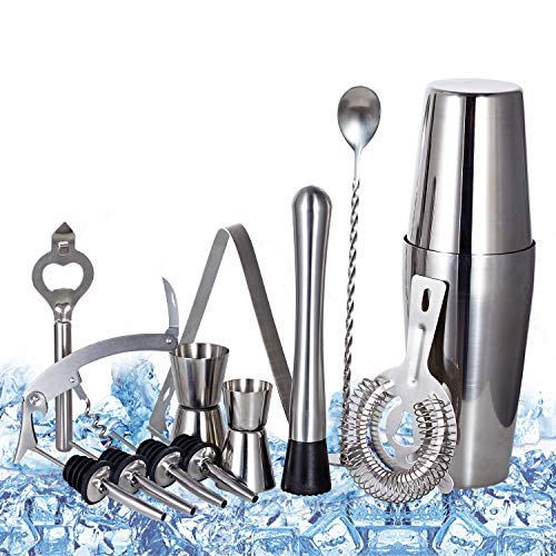 Cocktail Shaker Set Professional Bartender Kit - Premium Brushed Stainless Steel Martini Mixer, Spoon, pourers, Ice Tong, Strainer, Jigger, Muddler, Bottle Opener, Cork Screw for home Barware Tools