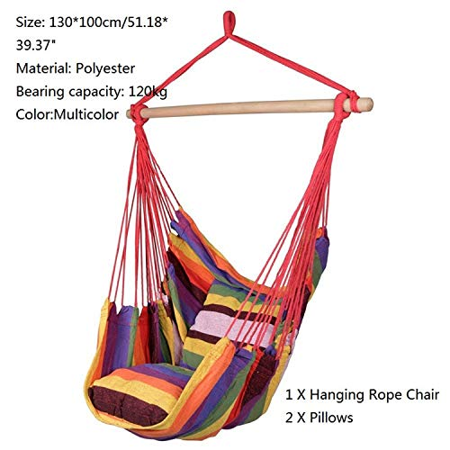 Hot Heaven Hammock Chair Hanging Rope Chair Swing Chair Seat with 2 Pillows for Garden Indoor Outdoor Fashionable Hammock Swings,B
