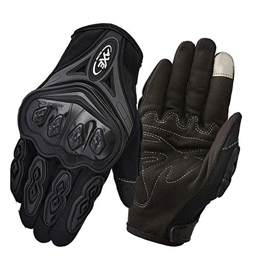 - Full Finger Motorcycle Gloves   Four Seasons Cycling Rider Knight Anti-Offroad Racing Tactical Gloves Men's Winter Seasons Warm Waterproof and Windproof (Color : Black, Size : M)