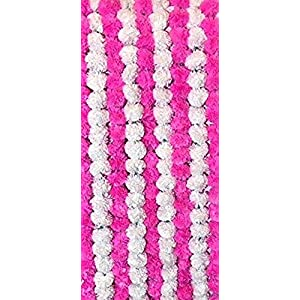 Nexxa 5 ft Long (Pack of 10) Pink and White Artificial Marigold Flower Garlands- for use in Home parties Diwali Ganesh Fest Decor, Celebrations, Indian weddings, Indian Themed Event, House Decorations