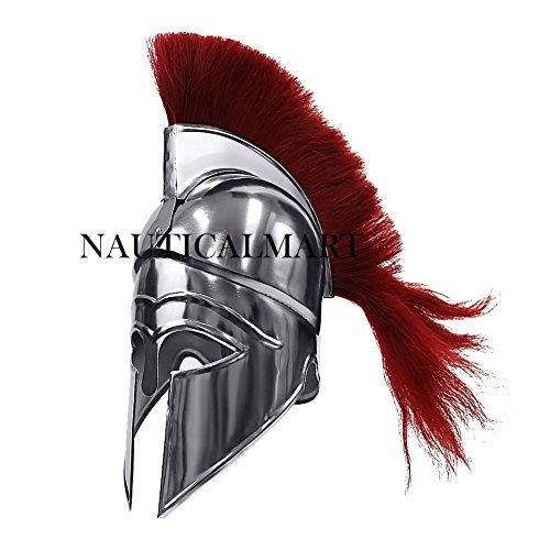 NauticalMart Medieval Greek Corinthian Spartan Hoplite Warrior Helmet and Red Plume