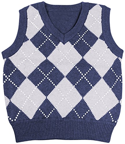 Enimay Kids Knit Sweater Vest V-Neck Argyle Pattern Pullover Navy | White 2 Years