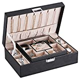 BEWISHOME Jewelry Box with 4 Watch Organizer Removable Tray Jewelry Display Storage Case - 7 Necklace Hook - Velvet Lining - Earring Ring Bracelet Case for Women Girls - Black PU Leather SSH07B