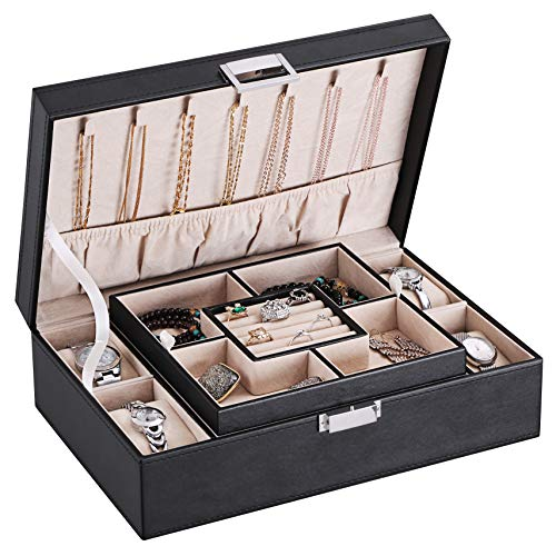 BEWISHOME Jewelry Box Organizer with 4 Watch Case Removable Tray Jewelry Display Storage Case - 7 Necklace Hook - Velvet Lining - Earring Ring Bracelet Case for Women Girls - Black PU Leather SSH07B from BEWISHOME