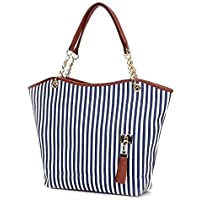Women's HandBag Tote Canvas Tassel Chain Shoulder Bag Striped Hand Bag GH9458 Blue