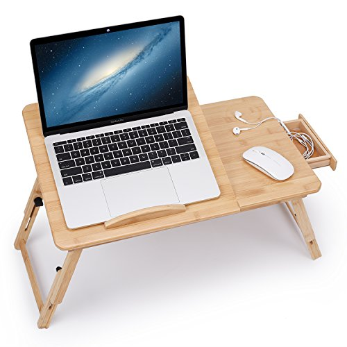 Juns Laptop Desk Adjustable Bamboo Breakfast Serving Bed Tray Tilting Top with Drawer by Juns