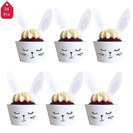 DreamJing - 24 moldes para Cupcakes de Conejo y cumpleaños ...