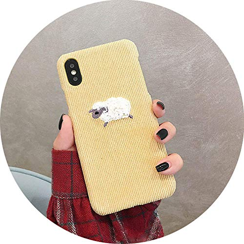 Fashion Warm Corduroy Phone Case for iPhone 7 8 6s 6 Plus X Case for iPhone Xs Max XR Cover Cute Dog Sheep Embroidery Hard Cases Light Yellow for ()