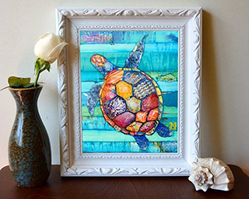 Sea Turtle Honu ( Peace & Longevity) by Danny Phillips ART PRINT, UNFRAMED, Hawaiian Beach coastal ocean sea wall decor, Nursery Kids Room, Nautical Summer gift, 8x10 inches