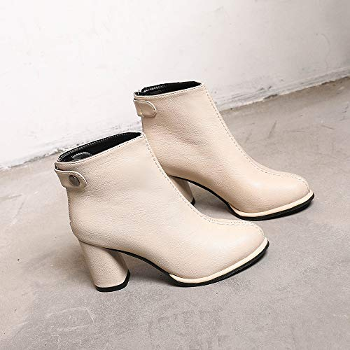 Shoes Thick Boots Women's Boots Imitation Martin Solid Color Beige Women's Head Zipper Sole High Boots Leather Casual FALAIDUO Heel Round Udwxa774