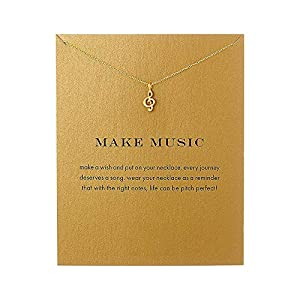 QXFQJT Tree Mountain Necklace Friendship Sister Elephant Good Luck Pendant Necklace with Meaning Card (Music-Gold)