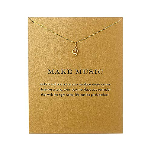 - QXFQJT Tree Mountain Necklace Friendship Sister Elephant Good Luck Pendant Necklace with Meaning Card (Music-Gold)