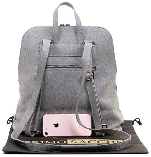 sac Gris bandoulière protection le cuir Inclut marque stockage clair sac de à en poignée de Sacchi® Primo sac dos texturé Top de italienne q0t1OwP