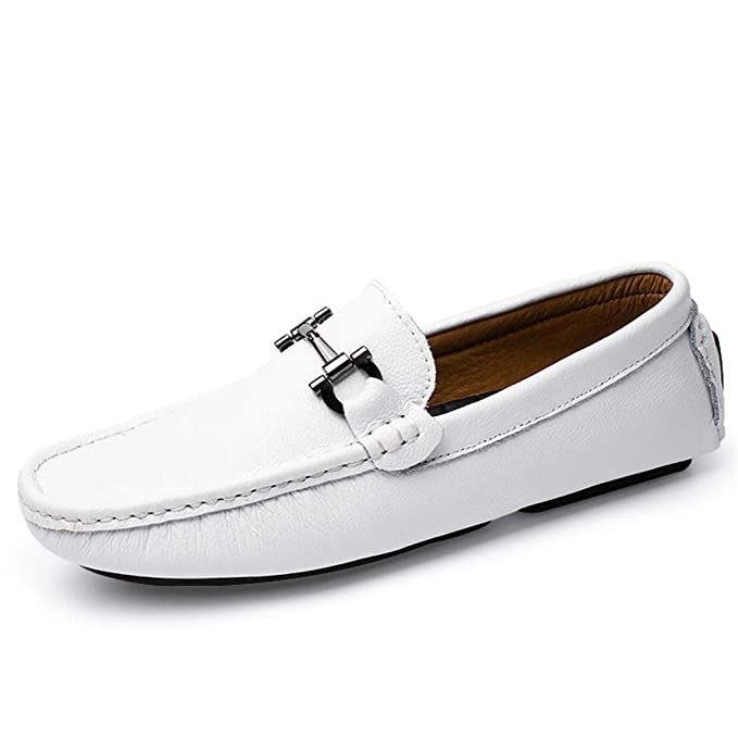 Amazon.com: Stitching Design Driving White Moccasins Handmade Leather Shoes Men Loafers Mocasines Homme Blue: Clothing