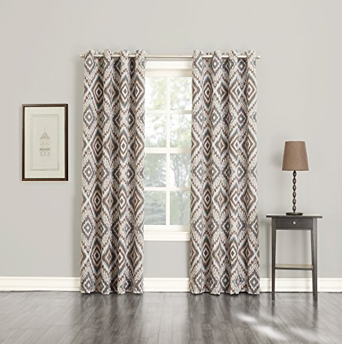 Sun Zero Dyson Medallion Energy Efficient Curtain Panel, 50″ x 84″, Stone Beige