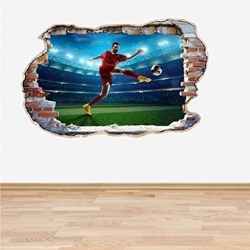 60 Second Makeover Limited Full Colour Football Soccer Player Wall 3D Effect Boys Bedroom Wall Sticker Decal Kids Bedroom Decoration