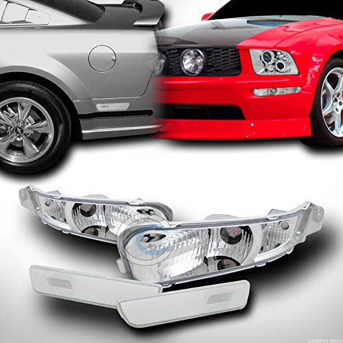 Side Front Clear Marker Euro (EURO CLEAR FRONT SIGNAL CORNER+REAR BUMPER SIDE MARKER LIGHTS 05-09 FORD MUSTANG)