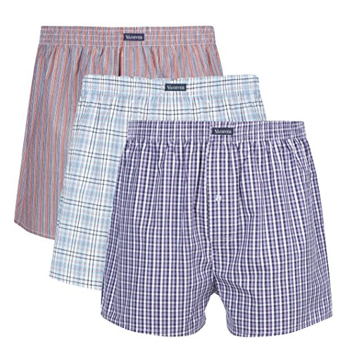 Button Fly Woven Boxers - 3PK Men's Woven Boxers, 100% Cotton Boxer Shorts for Men, Boxershorts with Button Fly, Underwear, Vanever Red Assorted L