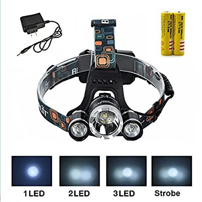 Veeki® Green/Red/Blue/White Color Shooting Headlamps Light Tactical 5000lm 3 X Cree Xm-l T6 +2 X Green R5 LED Head Headlight Torch Lamp Green Lights Headlamps for Hunting Night Fishing with 2 X 18650 5000mah Rechargeable Battery and Charger