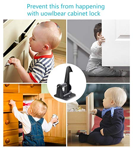 uowlbear Child Safety Drawer Locks, Baby Proof Cabinet Locks Latches with Adhesive and 48 Screws -12 Packs Black by uowlbear (Image #4)