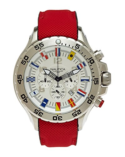 Nautica Mens NVL100 Chronograph White Dial Stainless Steel Decagon Case Red Watch N24515G