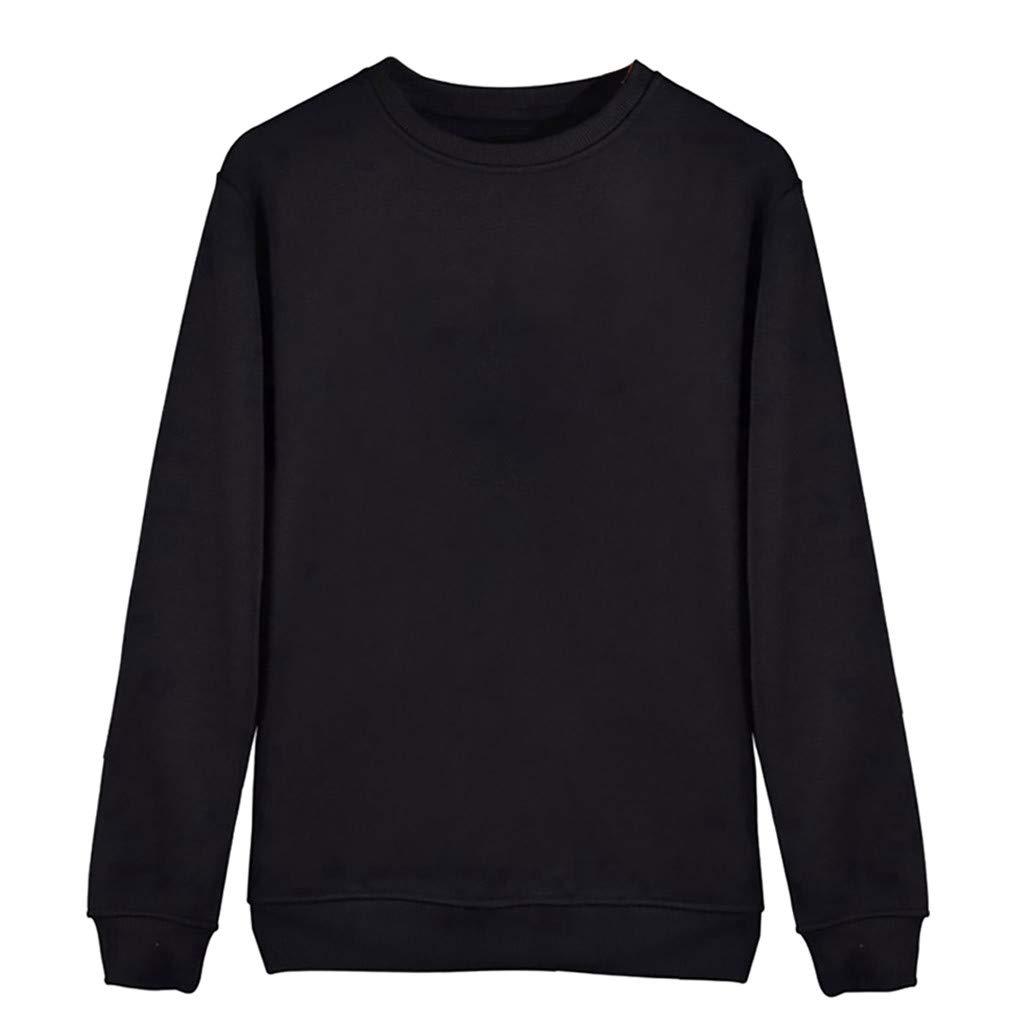 Redacel Women Sweatshirt, Casual Soild Color Shirt Long Sleeve Blouse Round Neck Sweatshirt Tops(S,Black) by Redacel