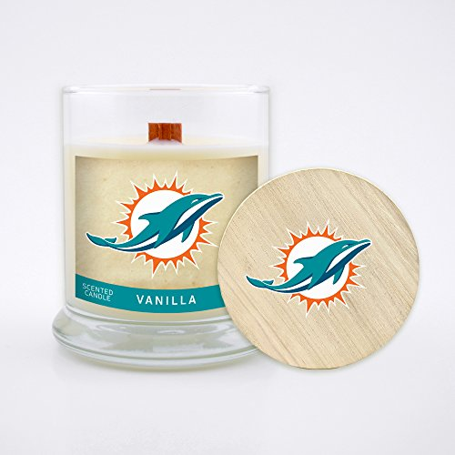 (Worthy Promo NFL Miami Dolphins Vanilla Scented Candle, 8 oz, Clear)