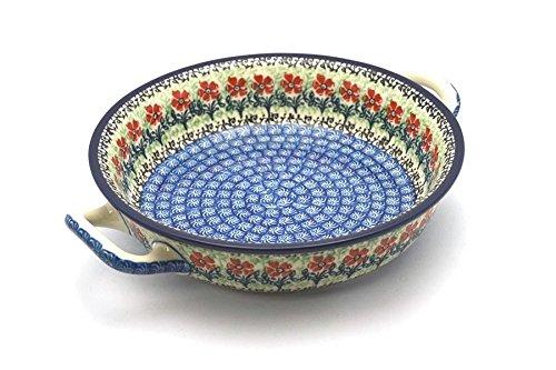 Polish Pottery Round Medium Baker with Handles (Maraschino) made by Ceramika Artystyczna