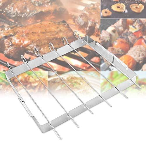 Grilles de Cuisson Accessoires Brochettes de barbecue durables en acier inoxydable Grillades simples Barbecue extérieur Superbe fourche Porte-outils inclus Bâtons réutilisables